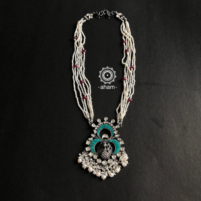 Festive Kundan Peacock with Turquoise and pearls