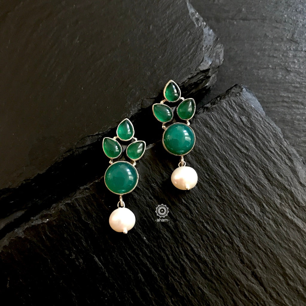 Green Stone and Pearl Drop Earrings