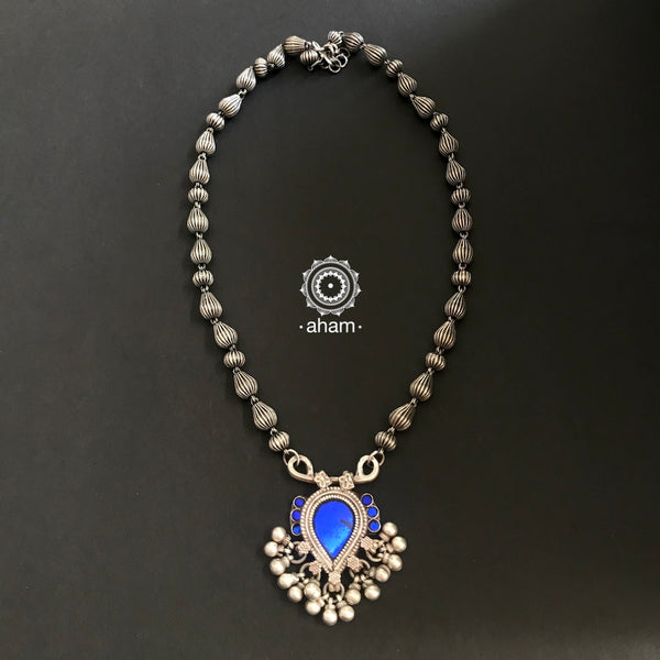 Glass Silver neckpiece, Rajasthan, silver jewellery India