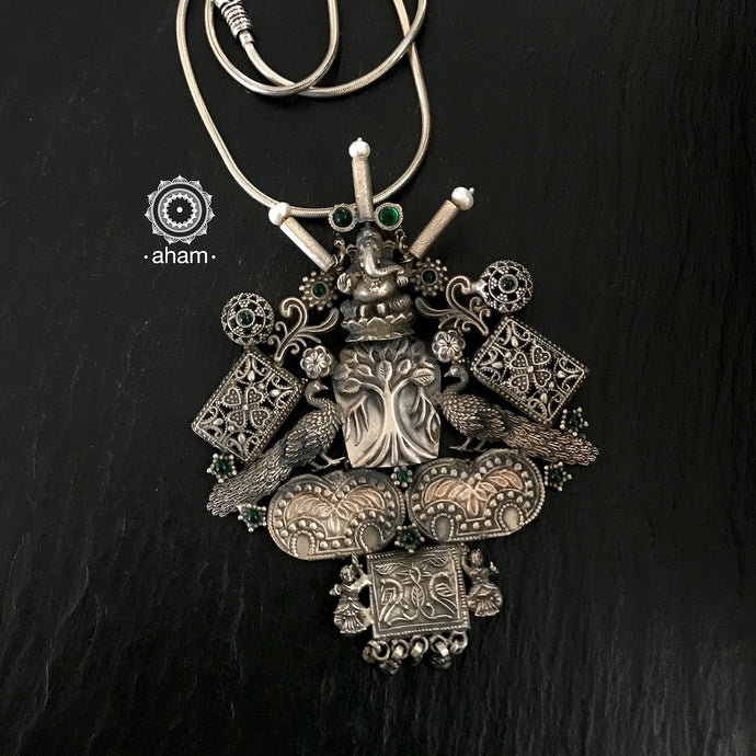 Ganesha Peacock one of a kind pendant