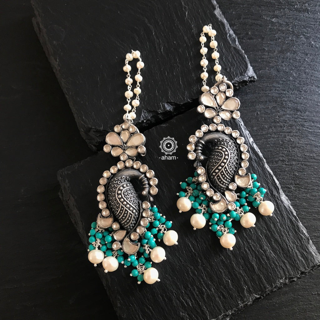 Dancing Peacock with Kundan, Turquoise and Pearls