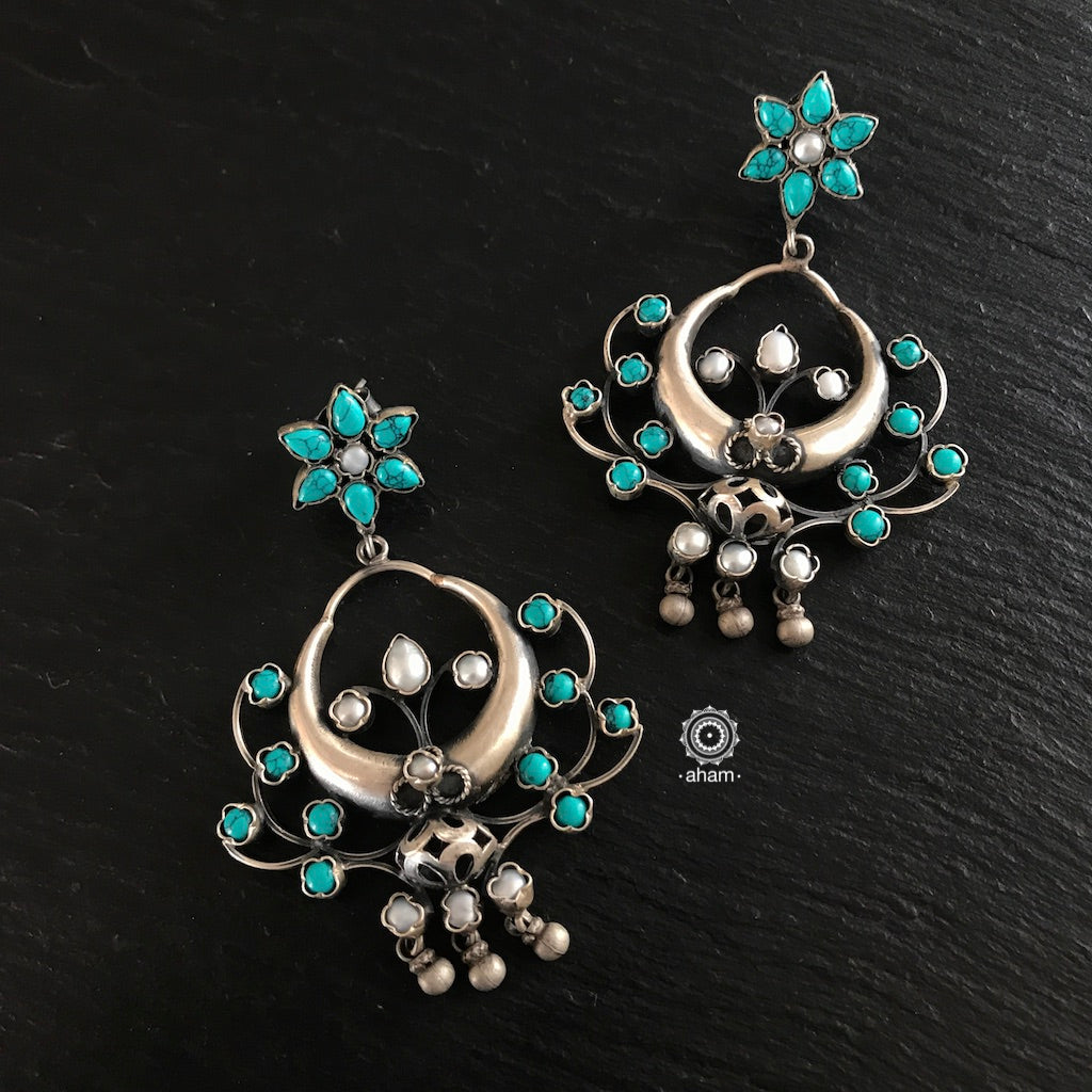 Turquoise and Pearl Chandbali Flower