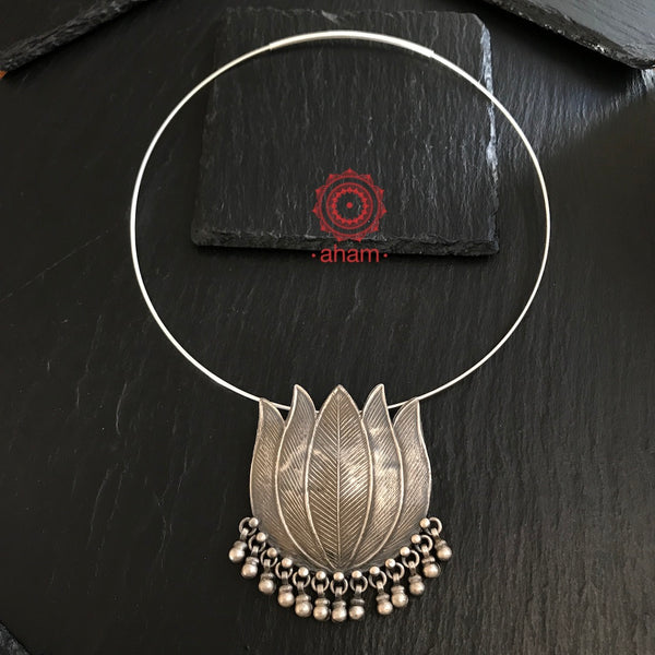 Silver Lotus Pendant with Wire Hasli