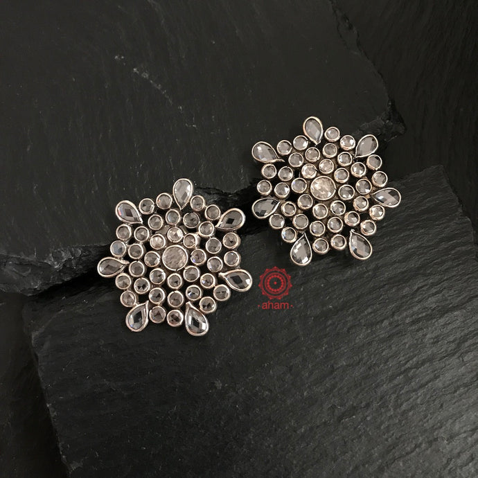 zircon earrings, silver earrings, silver jewellery india