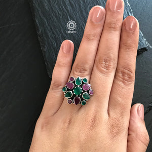 Maroon and Green Stone Ring