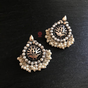 Silver Cutwork Peacock Earrings with Pearls
