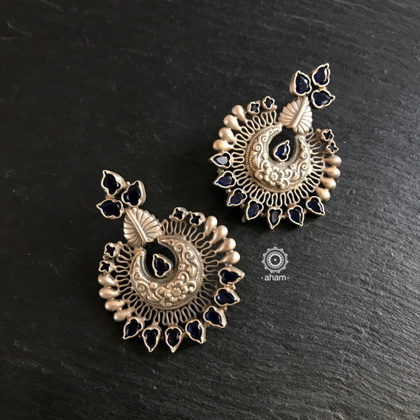Chandrika Silver Stone Earrings