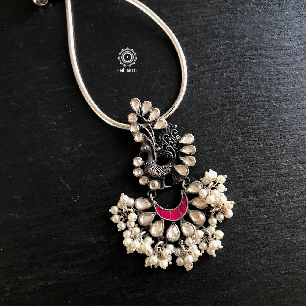 Peacock Pendant with Kundan and Pearls