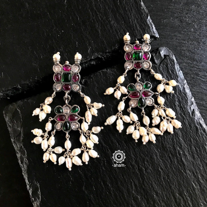 Guttapastalu Silver Earrings with Kemp stones and Pearls