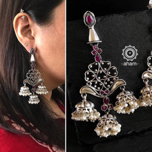 Mewad Silver earring with mini Jhumkies