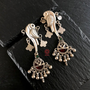 Mewad Parrot Earrings with Vintage Drops