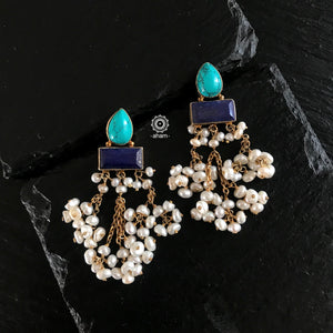Lapiz and Turquoise Gold Polish earrings