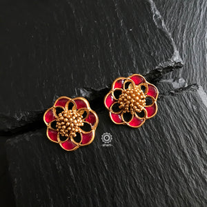 Festive Gold Polish Earring with Red Pink Embellishment