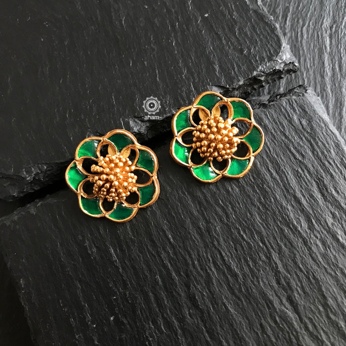 Festive Gold Polish Earring with Green Embellishment