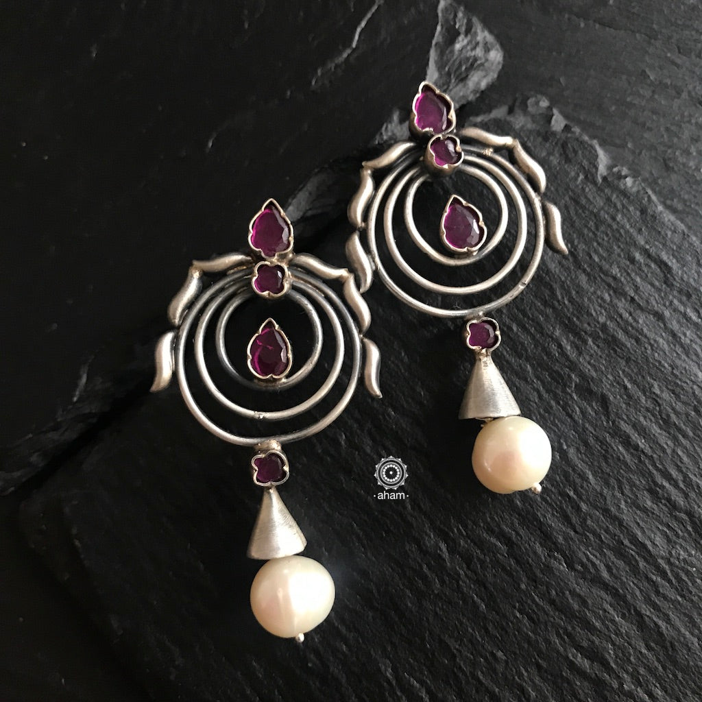 Concentric Circle Maroon Earring