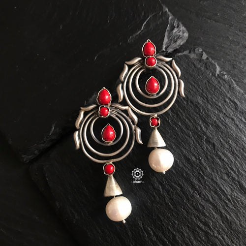 Concentric Circle Coral Earring