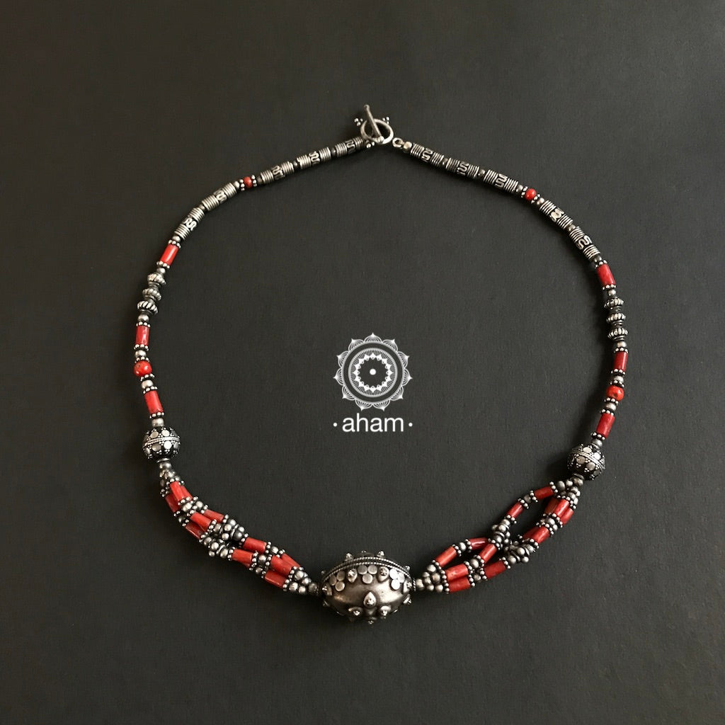 Silver beads with Coral Neckpiece
