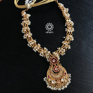 Kundan and Pearl work Gold Polish Neckpiece