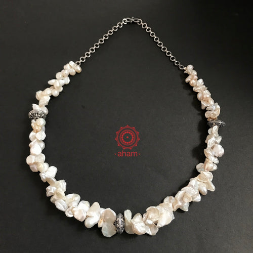 Pearl Neckpiece with Silver Beads