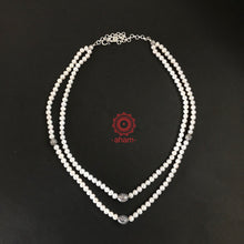 Two Strand Pearl Neckpiece with Silver Beads