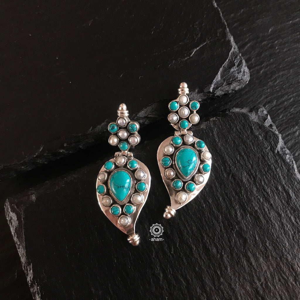 Summer Love Mango Turquoise and Pearl Earring