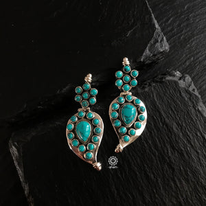 Summer Love Mango Turquoise Silver Earring