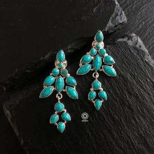 Summer Love Turquoise Leaf Silver Earring