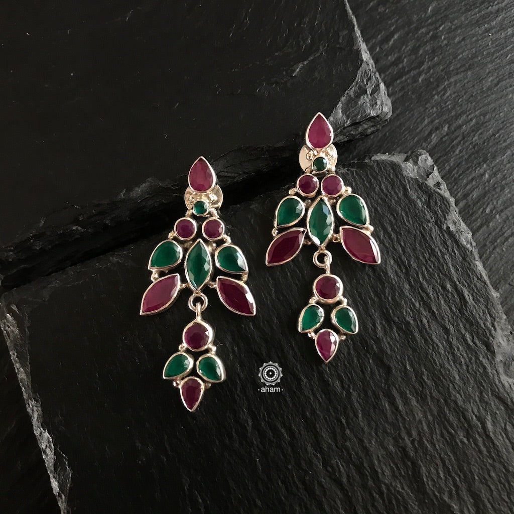 Summer Love Green and Maroon Leaf Silver Earring