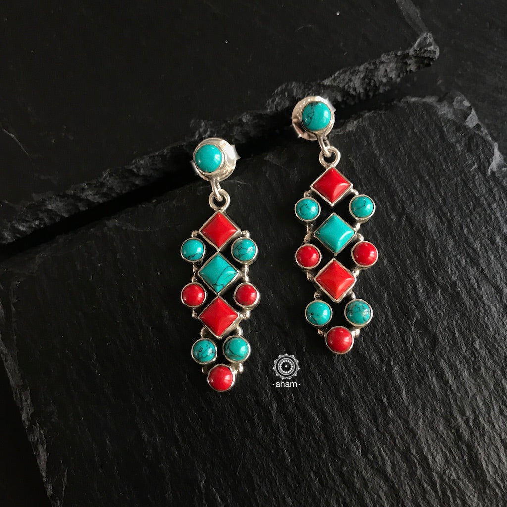 Summer Love Turquoise & Coral Silver Earring
