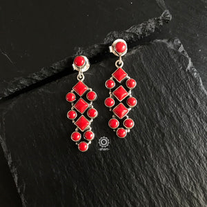 Summer Love Coral Silver Earring