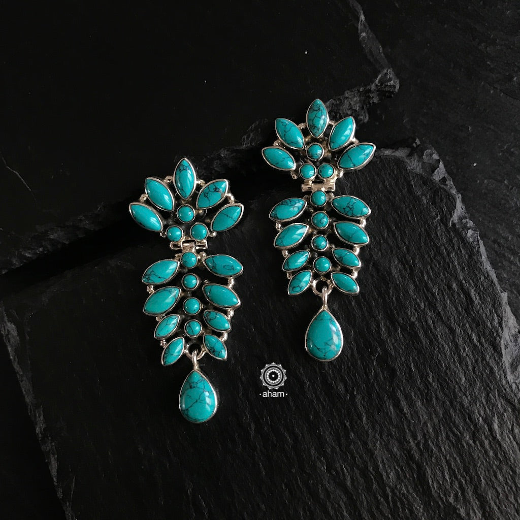 Summer Love Turquoise Bloom Silver Earring