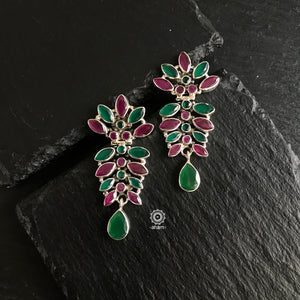 Summer Love Maroon & Green Bloom Silver Earring