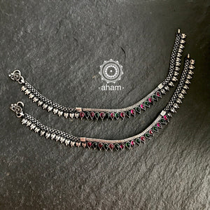 Silver Anklet with Stone Highlights
