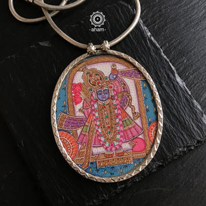 Shrinathji Hand Painted Pink Pendant