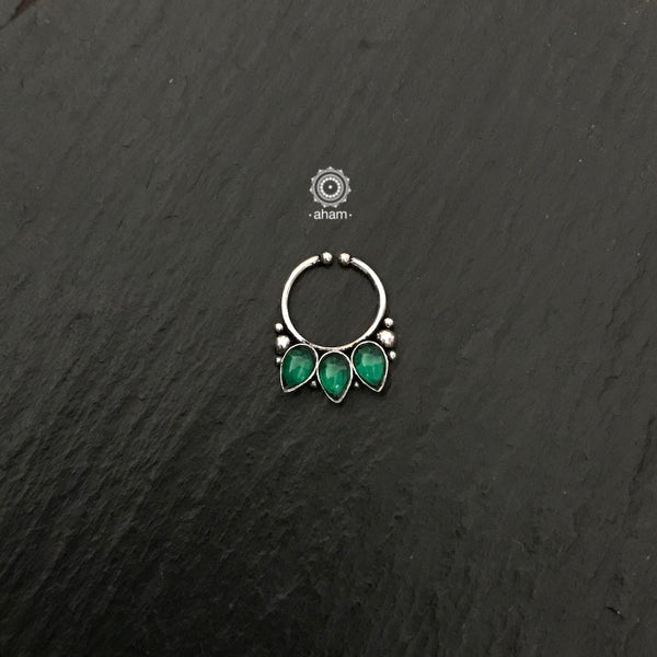 Silver Septum Clipon Nose Ring with Green Leaf