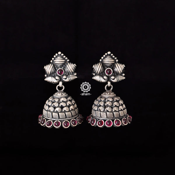 Handcrafted earrings in 92.5 silver  Light weight and easy to wear.