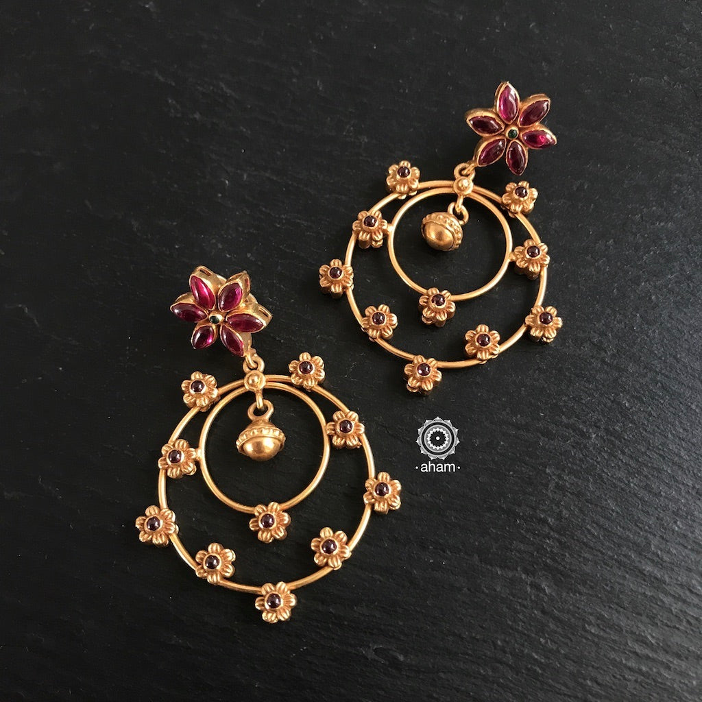 Nrityam Concentric Flower Circle Earring with Gold Polish
