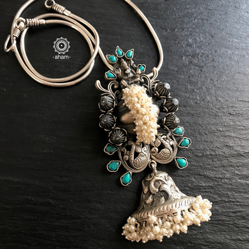 Ganesha Pearl and Turquoise Pendant