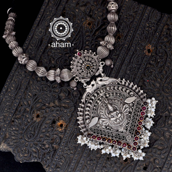 Beautiful silver thappi and tar work Neckpiece with adjustable cord.