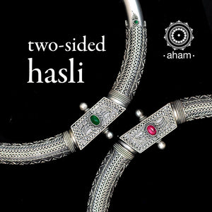 Two sided Silver Hasli With Kemp Stones