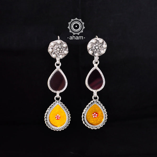 Silver, coloured foil and glass Rang Mahal Earring