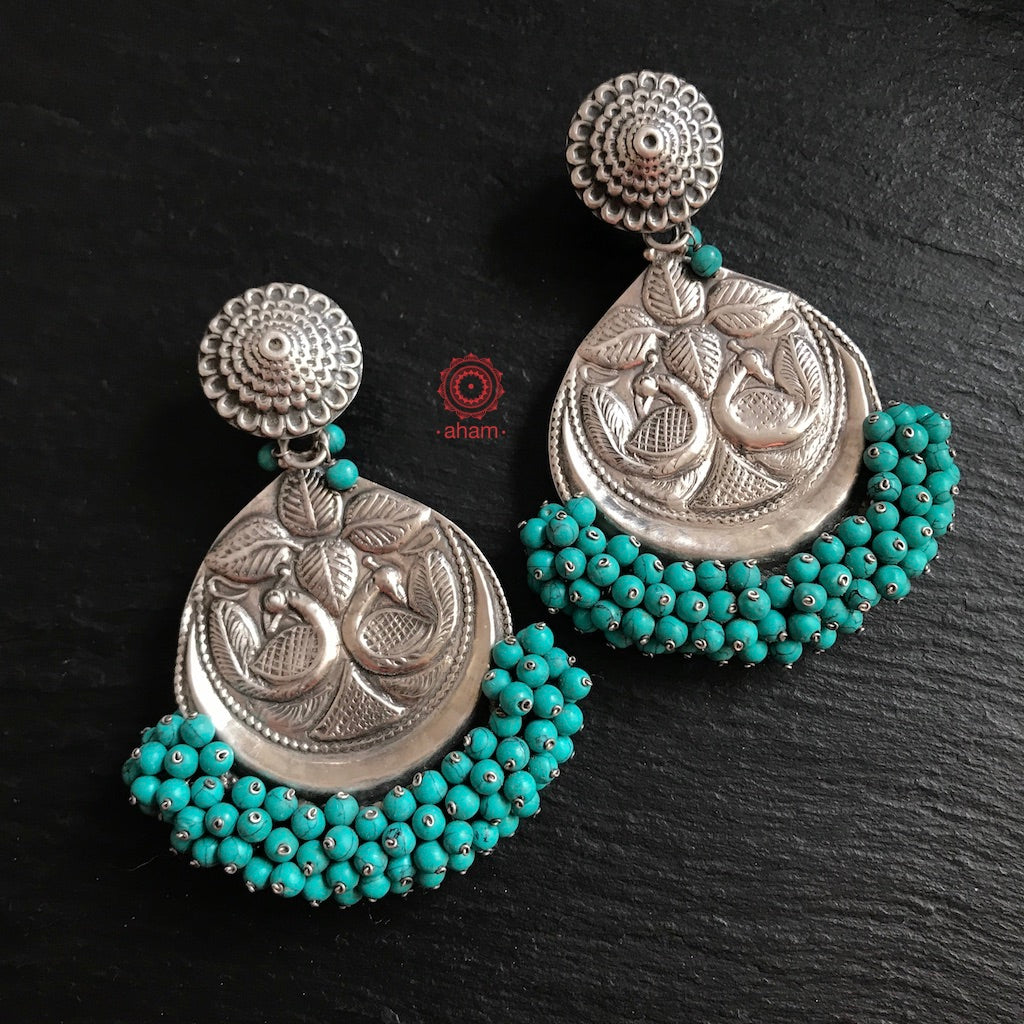 Silver Turquoise Beaded Beauty in 92.5 Sterling Silver with  classic peacock motif