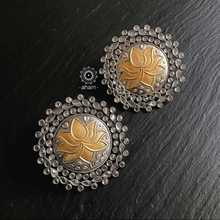 Two Tone Lotus Earrings