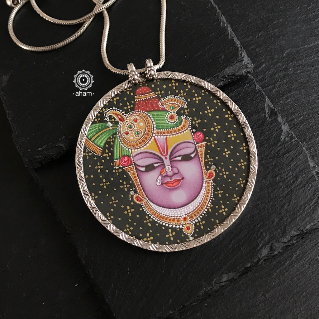 Shrinathji Purple Face Hand Painted Pendant