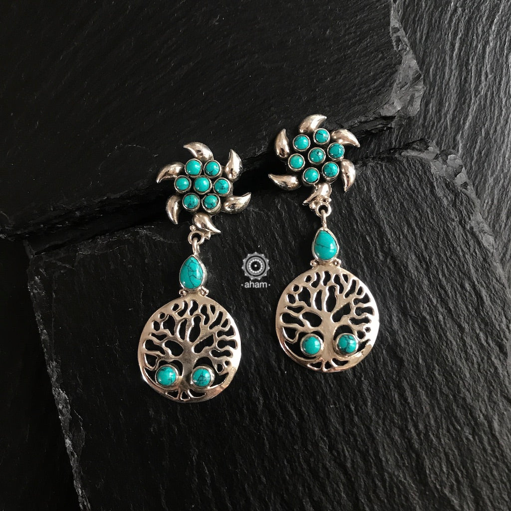 Turquoise Tree of Life Silver Earring