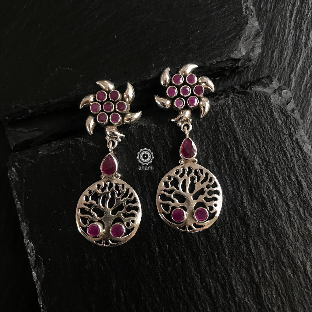 Maroon Tree of Life Silver Earring