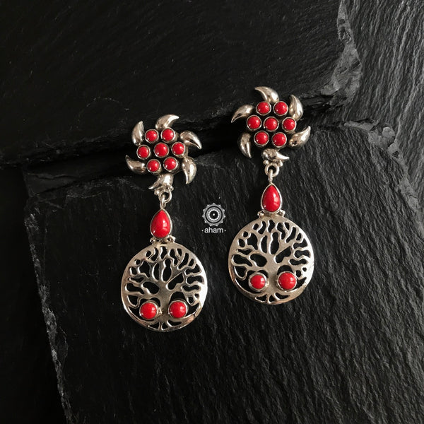 Coral Tree of Life Silver Earring