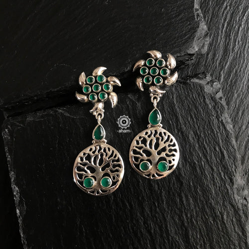 Green Tree of Life Silver Earring