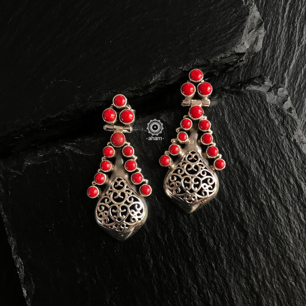 silver coral earring india