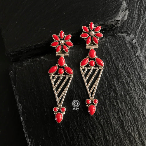 Coral Stone Silver Earring